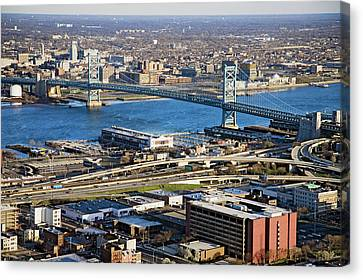 Aerial View Of Ben Franklin Bridge Canvas Print