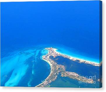 Aerial View Of Cancun Canvas Print by Patti Whitten