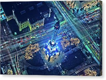 Long Street Canvas Print - Aerial View Of Chicago Water Tower by Panoramic Images