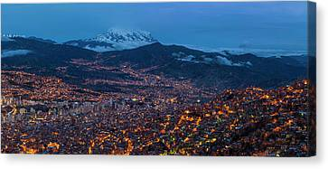 Aerial View Of City At Night, El Alto Canvas Print by Panoramic Images