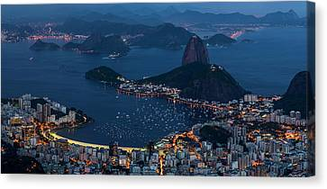Aerial View Of City From Christ Canvas Print
