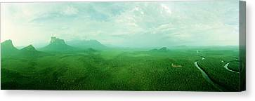 Aerial View Of Green Misty Landscape Canvas Print