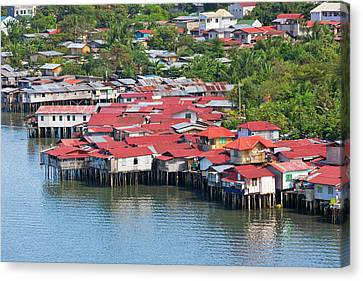Aerial View Of Houses On Stilts Canvas Print by Keren Su