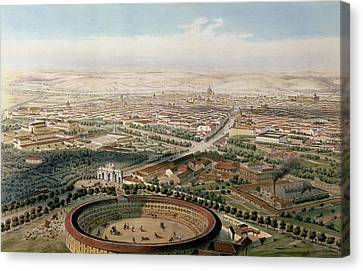 Aerial View Of Madrid From The Plaza De Toros Canvas Print by Alfred Guesdon