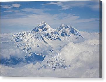 Aerial View Of Mount Everest Canvas Print by Hitendra SINKAR