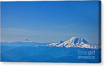 Aerial View Of Mount Rainier Volcano Art Prints Canvas Print