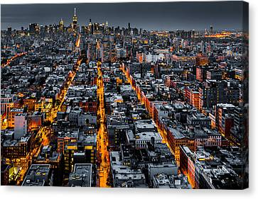 Canvas Print featuring the photograph Aerial View Of New York City At Night by Mihai Andritoiu