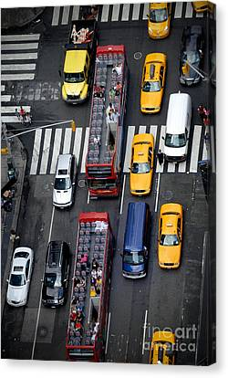 Aerial View Of New York City Traffic Canvas Print by Amy Cicconi
