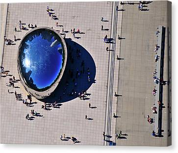 Stainless Steel Canvas Print - Aerial View Of People Standing By Cloud by Panoramic Images