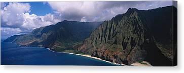 Aerial View Of The Coast, Na Pali Canvas Print