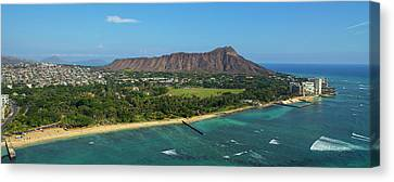 Aerial View Of The Diamond Head Canvas Print by Panoramic Images