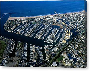 Aerial View Of The Marina Del Rey, Los Canvas Print by Panoramic Images