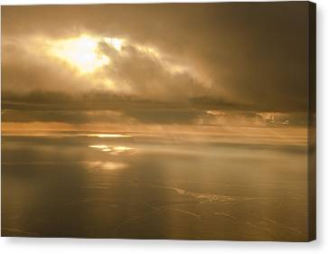Aerial View Of The Sunrise Reflecting Canvas Print