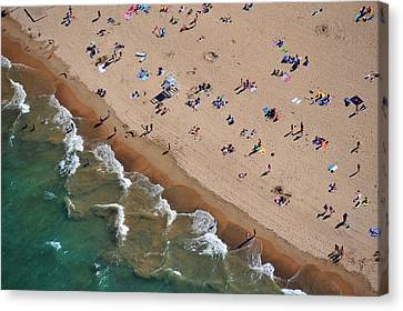 Aerial View Of Tourists On Beach, North Canvas Print