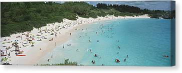 Aerial View Of Tourists On The Beach Canvas Print by Panoramic Images