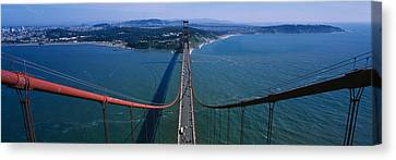 Aerial View Of Traffic On A Bridge Canvas Print by Panoramic Images