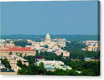 Aerial View Of Us Capitol From Rosslyn Canvas Print