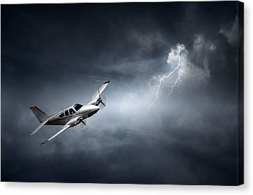 Risk - Aeroplane In Thunderstorm Canvas Print by Johan Swanepoel