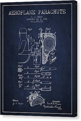 Aeroplane Parachute Patent From 1921 - Navy Blue Canvas Print by Aged Pixel
