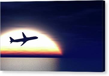 Aeroplane Taking Off At Sunset Canvas Print by Wladimir Bulgar