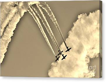 Aeroshell Aerobatic Team In Sepia  Canvas Print by Lynda Dawson-Youngclaus