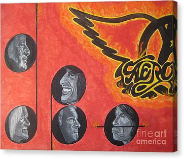 Canvas Print featuring the painting Aerosmith Art Painting 40th Anniversary by Jeepee Aero
