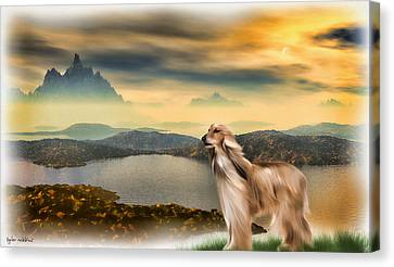 Canvas Print featuring the painting Afghan Hound by Tyler Robbins
