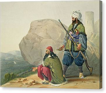 Afghaun Foot Soldiers In Their Winter Canvas Print by James Rattray