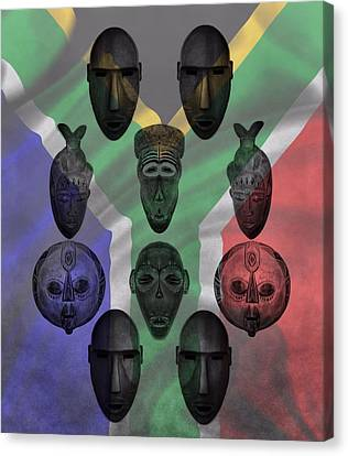 Africa Flag And Tribal Masks Canvas Print by Dan Sproul