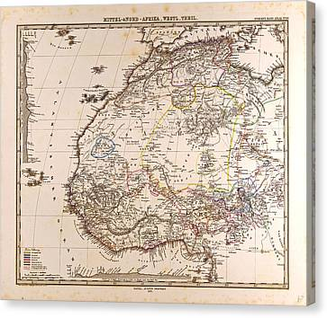Africa Map Gotha Justus Perthes 1875 Atlas Canvas Print by English School