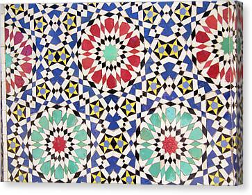 Africa, Morocco, Fes, Fes Medina, Tiles Canvas Print