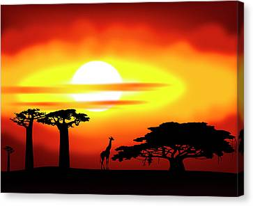 Africa Sunset Canvas Print by Michal Boubin