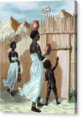 Africa Two Women And A Child Entering Canvas Print by Prisma Archivo