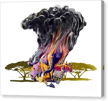 Africa Up In Smoke Canvas Print by Sassan Filsoof