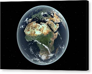 Flooding Canvas Print - Africa With Sea Level Rise by Walter Myers