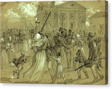 Arkansas Canvas Print - African American Soldiers Mustered Out At Little Rock by Quint Lox