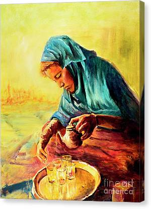 African Chai Tea Lady. Canvas Print by Sher Nasser