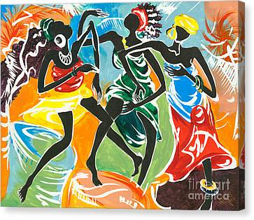 African Traditional Dances Canvas Print - African Dancers No. 3 by Elisabeta Hermann