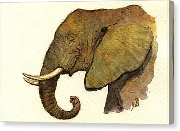 African Elephant Head Canvas Print by Juan  Bosco