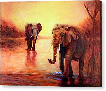 African Elephants At Sunset In The Serengeti Canvas Print