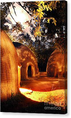 Canvas Print featuring the photograph African Grass Huts by Michael Edwards