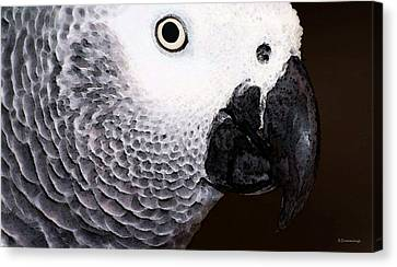 Parrots Canvas Print - African Gray Parrot Art - Seeing Is Believing by Sharon Cummings