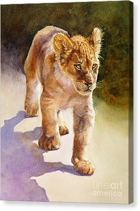 Canvas Print featuring the painting African Lion Cub by Bonnie Rinier