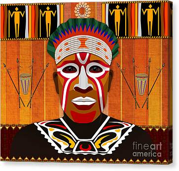 African Tribesman 3 Canvas Print by Bedros Awak