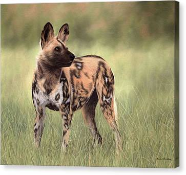 African Wild Dog Painting Canvas Print by Rachel Stribbling