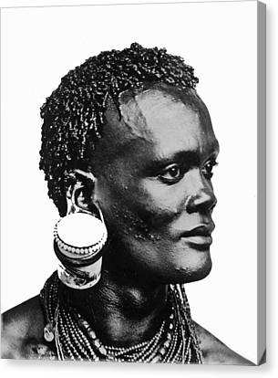African With Jam Pot Ear Piercing Canvas Print