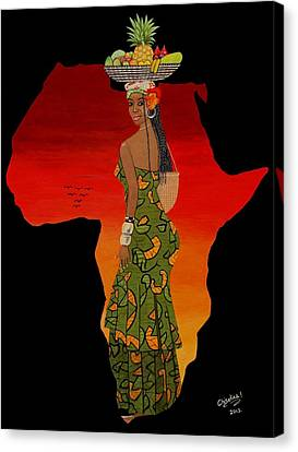 African Woman African Sunset Canvas Print