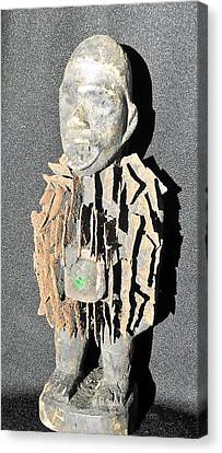 African Wood Carving With Nail Fetish Canvas Print by Anonymous