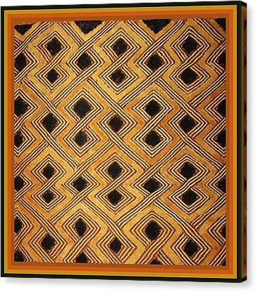 African Zaire Congo Kuba Textile Canvas Print by Vagabond Folk Art - Virginia Vivier