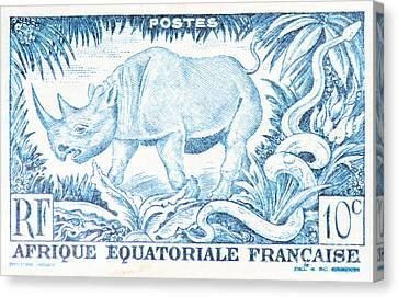 Afrique Rhino Canvas Print